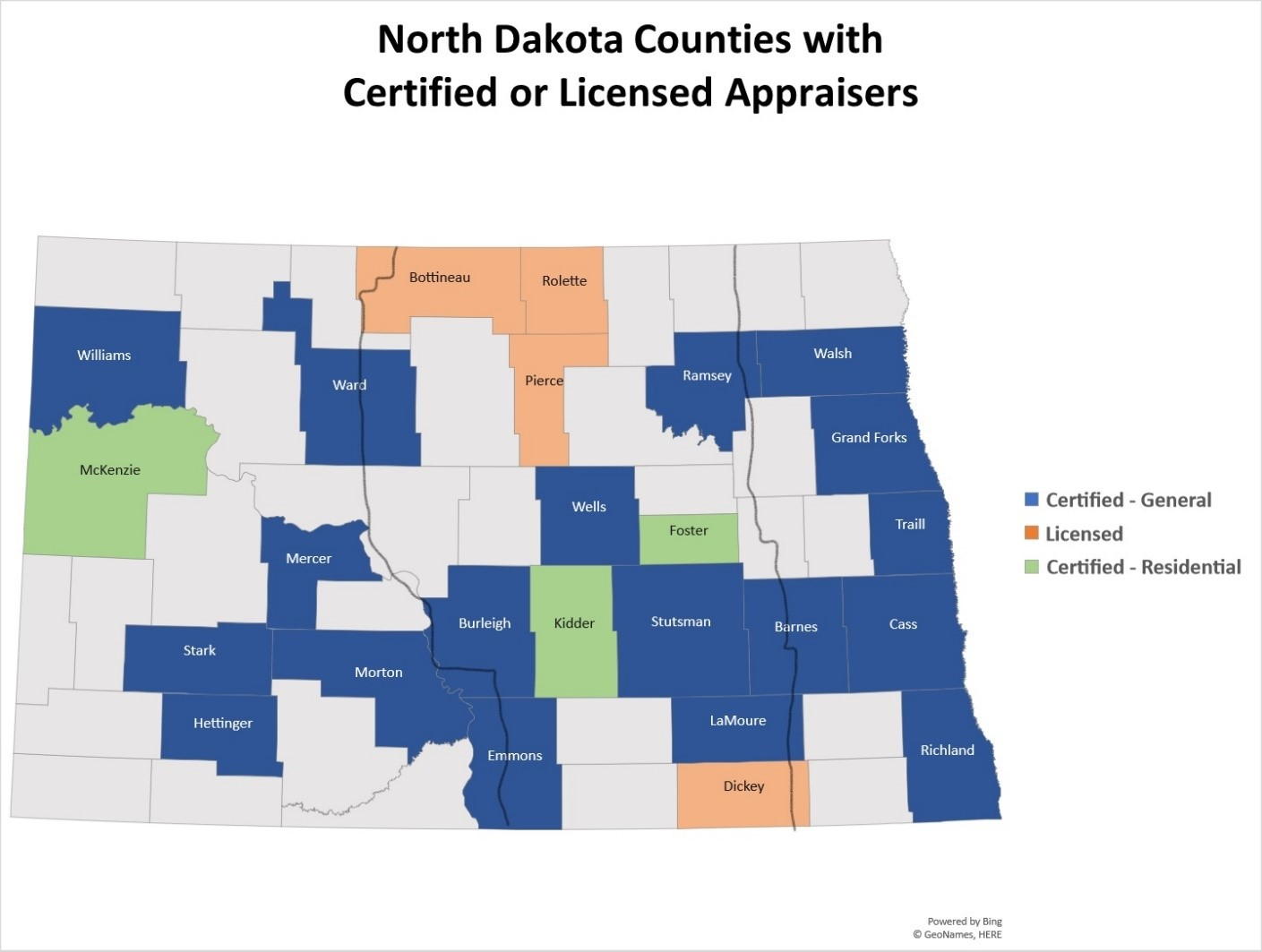 North Dakota Appraisers by County